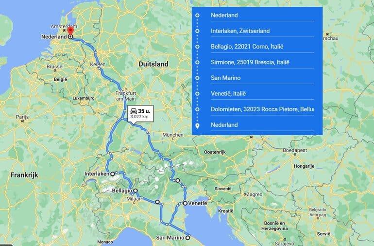 rondreis noord italie kaart